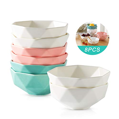 Vasos de caldo de porcelana mate de 4.5 pulgadas – 9 onzas pequeños cuencos para helado, postre, pequeños platos de acompañamiento, fruta – Juego de 8 (4 blancos, 2 rosas, 2 azules).