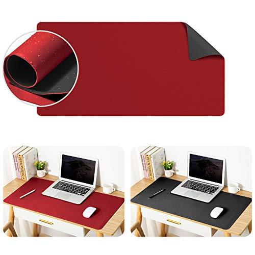 ONELY Tapis de Souris Bureau Grand , mince Anti-dérapant et étanche PU cuir Super-Portable tapis de avec double côté pour bureau et la maison (Noir et rouge)