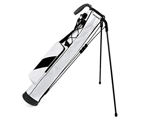 TOPLANDER ゴルフ セルフスタンド クラブケース 超軽量 防水 7本収納 背面フック フード ポケット ストラップ付き (ホワイト)