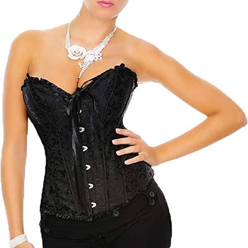 Yummy Bee - Cors Mujer Vintage Brocado Marfil - Corset Mujer Gtico Negro Disfraz - Lencera de Novia - Talla Grande (Negro,52)