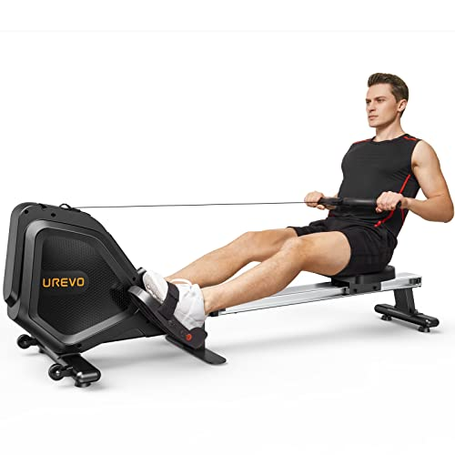 UREVO Foldable Rowing Machine Rower,Magnetic Row Machine Folding Exercise Rower with Aluminum Rail, LCD Monitor,8 Level Adjustable Resistance,330 lb Weight Capacity