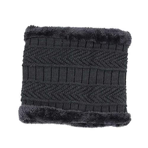 Show-Show-Fashion - Gorras de invierno para hombre, bufanda, gorro de punto, gorras, gorras cálidas, holgadas, sombreros de invierno de punto, color gris oscuro