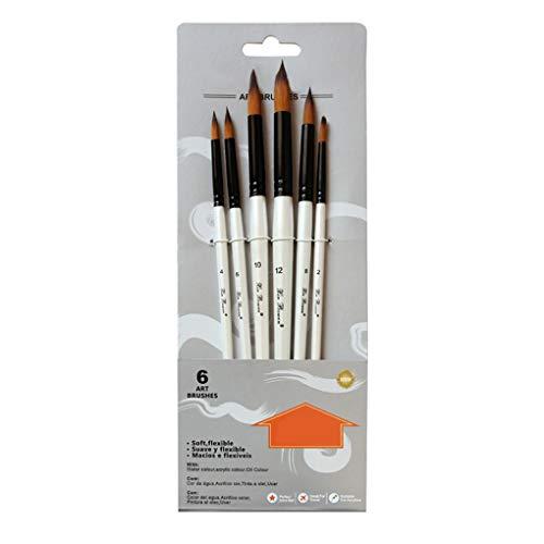 Cdrox 6pcs / Set de cepillos de Pintura de la Acuarela Kit Diferente Forma del Cabello con Mango de Nylon de Madera Cepillo de Pintura Material de Bellas Artes
