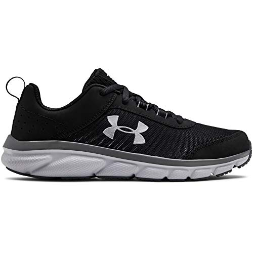 Under Armour Kids' Grade School Assert 8 Sneaker, Black (001)/Pitch Gray, 4