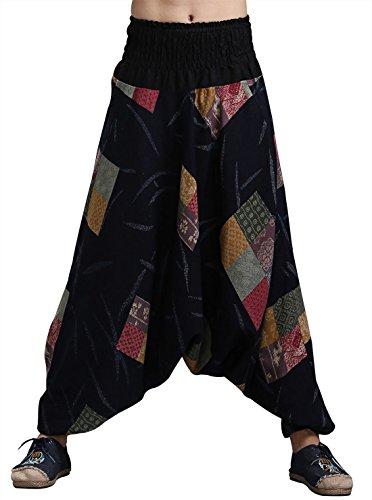 MAFANBUYI - Pantalones Harem Bombachos Anchos para Yoga Cómodo Pantalón Cagados Ancho Aladdin Entrepierna Talla Única Casual para Hombre Mujer - Azul