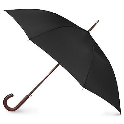 Totes Auto Open Wooden Handle J Stick Umbrella, Black