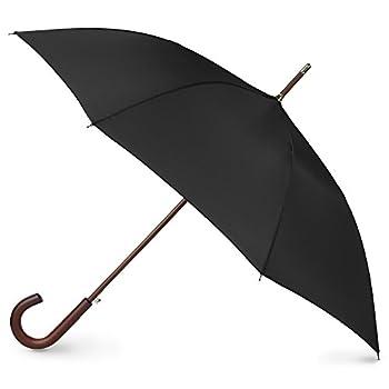 totes Auto Open Wooden Handle J Stick Umbrella Black