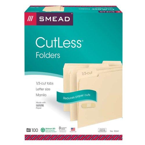 Smead CutLess File Folder, 1/3-Cut Tab, Letter Size, Manila, 100 Per Box (10341)