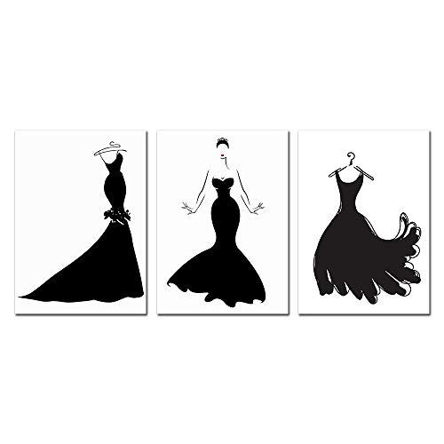 Zwarte jurk schoonheid abstract Nordic poster mode muurkunst canvas schilderij Pop Art kleding Studio decoratief schilderij 40x60cmx3 niet ingelijst