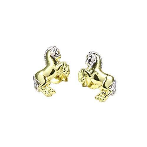 NKlaus PAR 333 8 quilates de oro amarillo caballo niños aretes damas niñas 5581