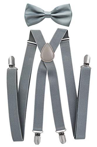 axy® Herren Hosenträger mit Fliege - 4 Starken Clips X-Form (Grau (Hosenträger Breit 2,5cm))
