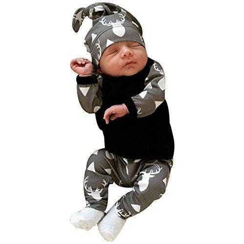 BeautyTop 3Pcs Neugeborenes Baby-Jungen-Kleidung-Rotwild-Oberseiten T-Shirt + Hosen-Gamaschen-Ausstattungs-Set (70/0-3 Monate, Grau)