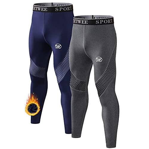 MEETWEE Pantalón Térmico Hombre Ropa Interior Térmica Funcional Calzoncillos Largos Leggins Termo para el Invierno Deporte Running Esquiar Senderismo
