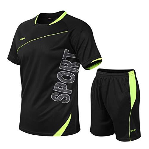 Yowablo Ensemble Vêtements de Compression Homme, Vetement Fitness Respirant Vetement de Sport Quick Dry Tenus de Sport Pantalon (3XL,2Noir)