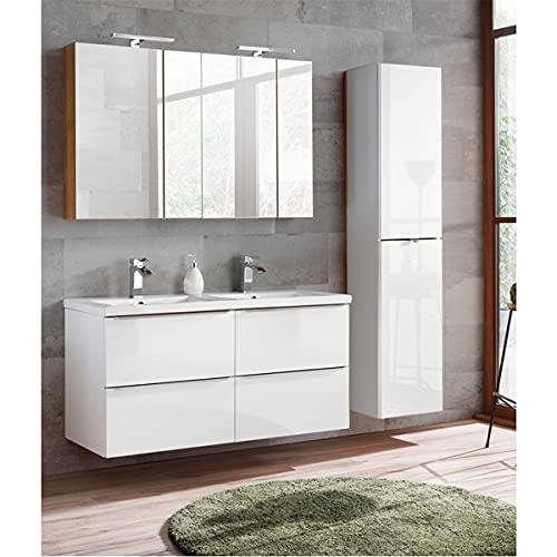 Lomadox Komplett Badmöbel Set mit Doppel-Waschtisch 120cm aus Keramik 120cm, und 2 Spiegelschränke, Wotaneiche & Hochglanz weiß, Breite 175cm