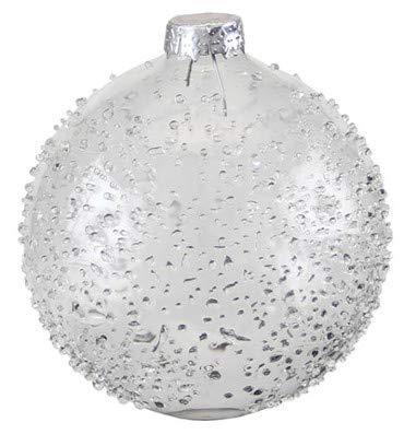 Kaheku Extravagante Weihnachts-Baumkugel Farin Glas klar Frozen Frost-Effekt Glasglitter Fensterdeko d10 cm