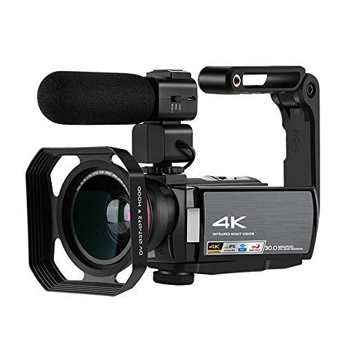 Yehyep Videokamera 4K-Camcorder, Digital-4K-Kamera-Recorder Mit 3,0 Zoll Touch-Screen/Nachtsicht, Externes Mikrofon/Weitwinkelobjektiv Und Intelligenten Zusatzlicht-Lampe