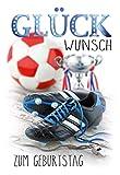 Geburtstagskarte für Männer, Geburtstagskarte Fußball, B6, im Format DIN B6 176 x 125 mm,...