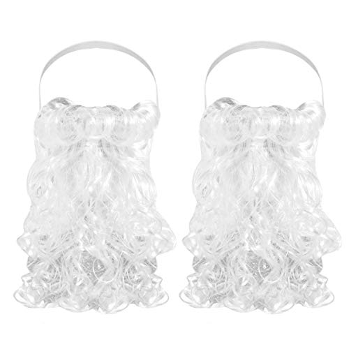 Amosfun Funny Santa Beard White Fake Mustache Santa Claus Costume Accessories for Boys Girls and Adults Christmas Holiday Party Supplies 2pcs