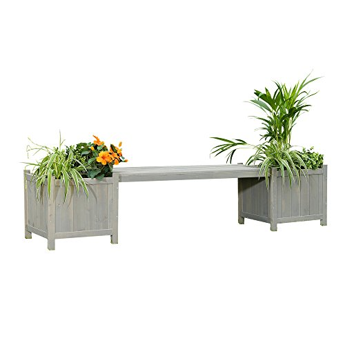 Melko Gartenbank 180cm Parkbank Holzbank mit Blumenkasten Sitzbank Holz 2sitzer Bank