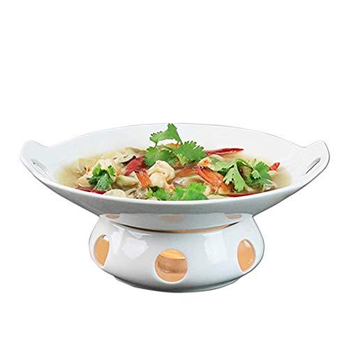 WCY Pote de Sopa de Cocina Cazuela de Buffet de 12 Pulgadas, Cerámica Chafer con candelero, Conjunto de Calentamiento, Mantenga calorías, para Brunch de Fiesta Eventos Catering Soup Porridge yqaae