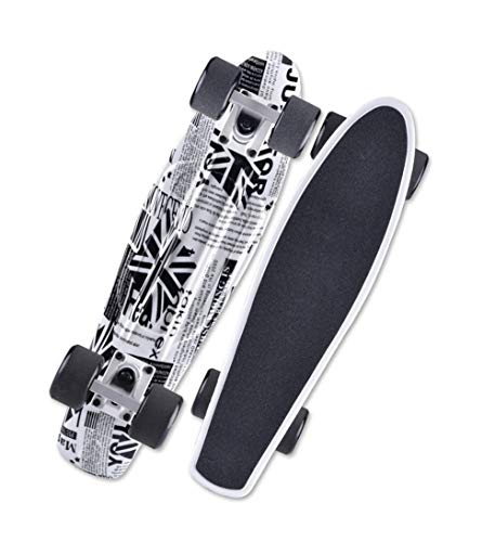 HHXWU Skateboard Banana Board Principiante Skateboard Big Wheel Scooter de Cuatro Ruedas British Journal
