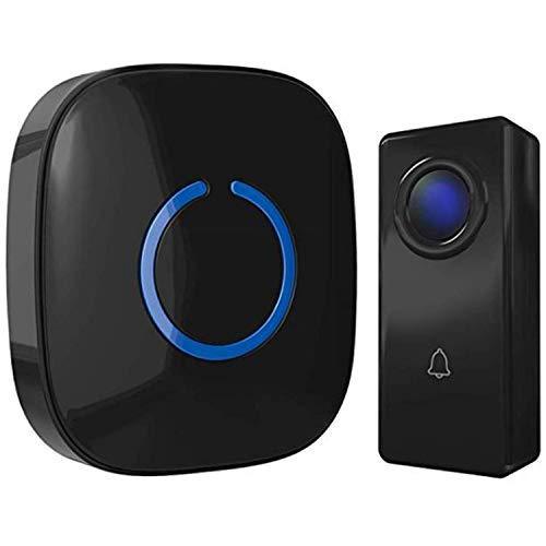 Wireless Doorbell with Hands Free Door Chime, Waterproof Door Bells & Chimes Wireless Kit, 1000-ft Range, 52 Door Bell Chimes, Wireless Doorbells with Door Sensor, SQ1-MBL, Black
