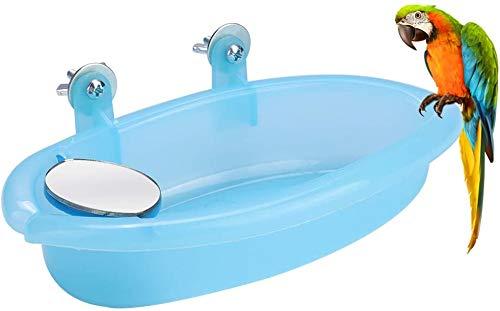 CYSJ 2pcs Bird Bath Tub Bowl Parrot Birdbath Shower Accessories Bird Baths Tub with Mirror For Cage Pet Bath Accessories Tool Parrot Bird Feeder Basket Hanging Bath Bathing Box