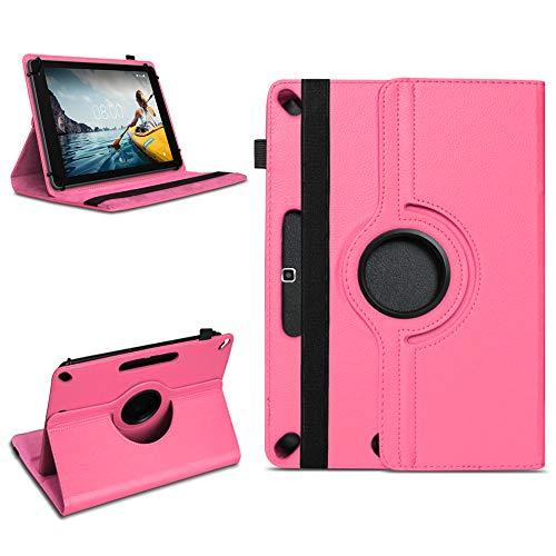 NAmobile Schutzhülle kompatibel für Medion Lifetab P10612 P10610 P10603 P10606 P10602 X10605 X10607 P9702 Tablet Hülle Tasche 360° Drehbar Universal Hülle Kunstleder, Farben:Pink