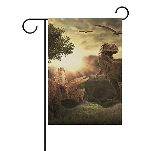 Jstel Home géant Dinosaures 3d Tissu de polyester drapeaux de jardin Lovely et résistant aux moisissures personnalisés imperméables de 30,5 x 45,7 cm