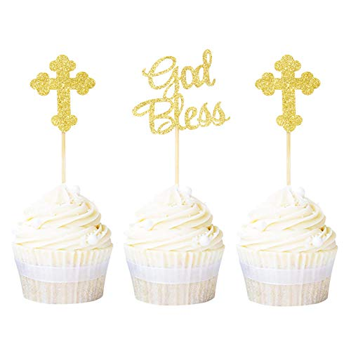 Ercadio 24 Pack God Bless and Cross Cupcake Toppers Gold Glitter Baby Baptism Cupcake Picks Christian Religious Party Decoration