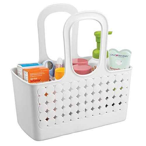 iDesign Orbz Plastic Bathroom Shower Tote, Small Divided College Dorm Caddy for Shampoo, Conditioner, Soap, Cosmetics, Beauty Products, 11.75' x 6' x 12', White