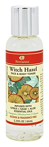 Bretanna All-Natural Witch Hazel, Alchohol Free Face & Body Cleansing Toner, Infused with Citrus Sage Aloe True Essential Oils for Sensitive Skin, 2.25 Oz by Bretanna