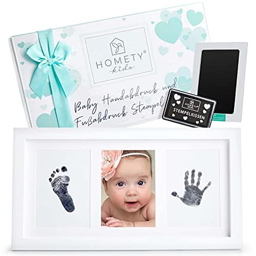 Homety Handabdruck Baby - Fußabdruck Baby Abdruckset - auffüllbares Clean Touch Stempelkissen im Bilderrahmen Baby Geschenke Set - Babygeschenk zur Geburt