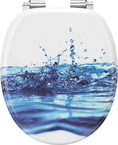 Cornat KSDSC540 - Asiento de inodoro con tapa (bajada amortiguada), diseño de gotas de agua,90 x 75 x6 cm