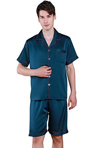 YAOMEI Homme Pyjamas de Couple Satin Soie, 2021 Hommes Manche Courte Ensemble de Pyjama Vêtement de Nuit Printemps été, des Couples Chemise boutonnée boutonnée avec Poche (A-Bleu, L)