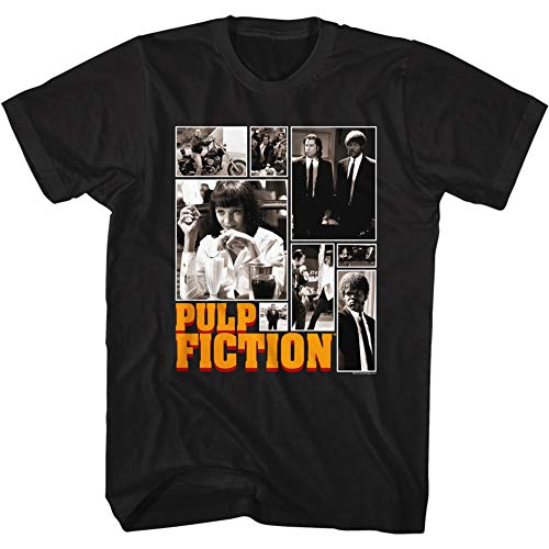 American Classics Pulp Fiction 90s Movie Collage of Images Adult Short Sleeve T-Shirt Graphic Tee Black