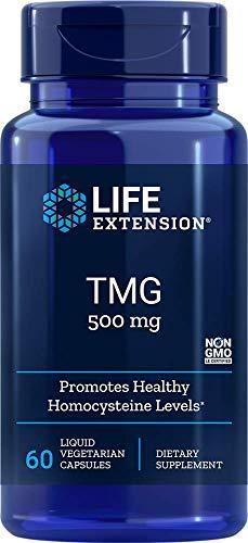 Life Extension, TMG, Glycinbetain, Betaine, Nahrungsergänzungsmittel, Hochdosiert, 500 mg, 60 vegetarische Flüssigkapseln, Glutenfrei, Gentechnikfrei