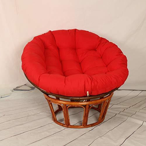 ZZZYZ Cojín redondo de mimbre para silla de mimbre con diseño de radar, lavable, con lazos, cojín para silla de mimbre, silla de madera, silla redonda, color rojo k 50 x 50 cm
