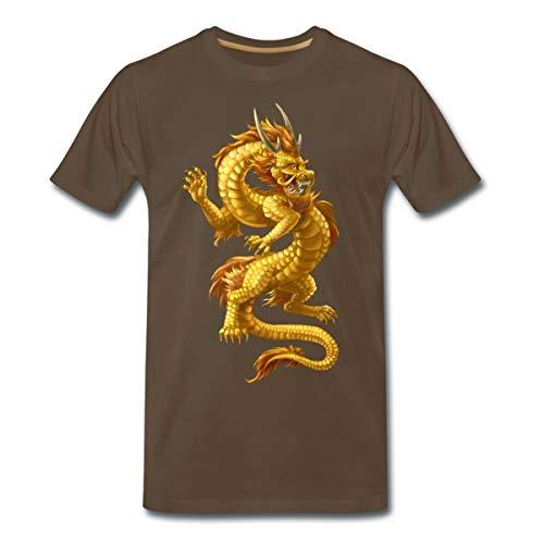 Chinesischer Drache Männer Premium T-Shirt, 3XL, Edelbraun