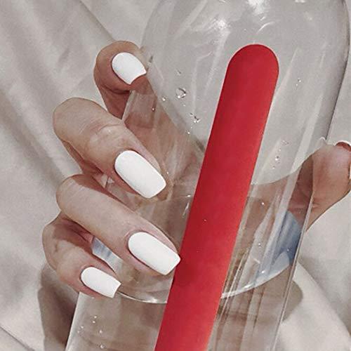 Brishow Kunstnägel Falsche Nägel Weiß Lange Gefälschte Nägel Ballerina Falsche Nagelspitzen Vollständige Abdeckung Stick on Nails 24 Stück für Frauen und Mädchen
