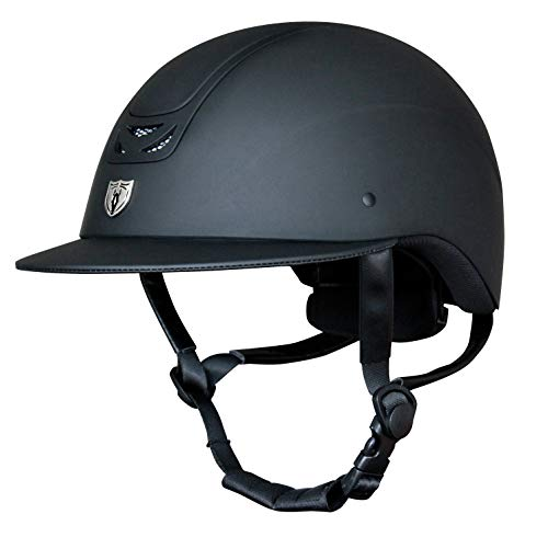 Tipperary Equestrian Horse Riding Helmet - Royal Wide Brim - English Style Protective Horseback Riding Apparel - Safety Helmet with Cooling Ventilation - Matte Black - Matte Black - Matte Black - XS