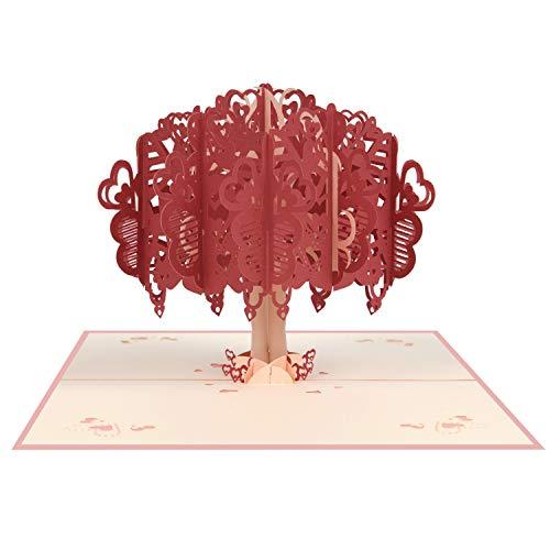 Vicloon Tarjetas de Felicitación, Tarjeta de San Valentín con Sobre, Tarjeta de Felicitación Pop Up 3D, Tarjeta de Felicitación de Boda e Invitación, Árbol de Amor Rojo Romántica Tarjeta Cumpleaños