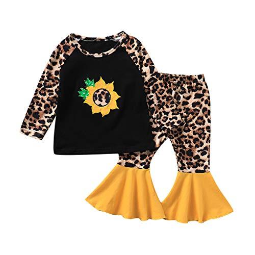 Voberry- Costume Enfant,T-Shirt brodé Tournesol à Manches Longues Fleur de Soleil + Pantalon à Manches évasées imprimé léopard(18M-4T)