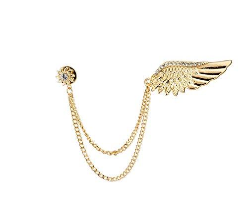 Knighthood Herren Golden Stone Wing mit Hängekette Brosche Goldene Herren Brosche/Reversnadel/Lapel Pin/Anzug/Sakko