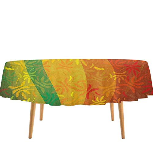 prunushome Floral Dining Table Cover Abstract Autumn Composition with Deciduous Tree Leaves Foliage Changing Seasons for Christmas/Thanks Giving Dinners Multicolor (54' Round)