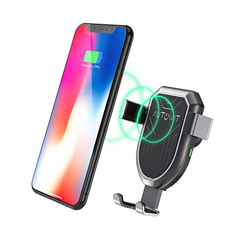 autowit Qi Wireless Gravity Car Charger Air Vent Mount Fast Charge Car Phone Holder 10W/7.5W for iPhone X/Xs/ 8/ 8Plus Samsung Note5, Note 8, Galaxy S6 Edge+, Qi Enabled Devices