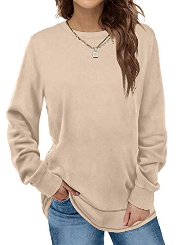 Tunic Tops For Leggings For Women Casual Long Sleeve Comfy Shirts Khaki M