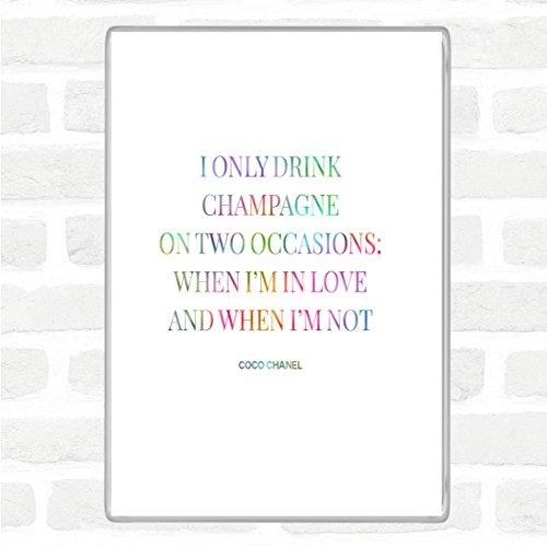 Coco Chanel Champagne Rainbow Quote Jumbo Koelkast Magneet