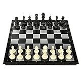 Juego de ajedrez plegable de ajedrez con piezas de ajedrez de tablero de ajedrez magnético para juegos de ajedrez (color: negro y blanco, tamaño: extra grande)